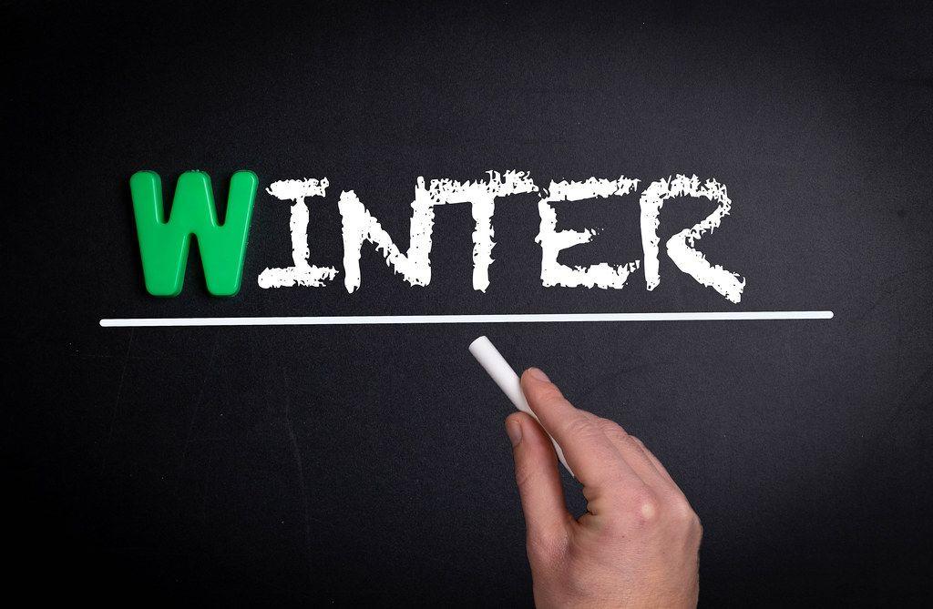 Winter text on blackboard