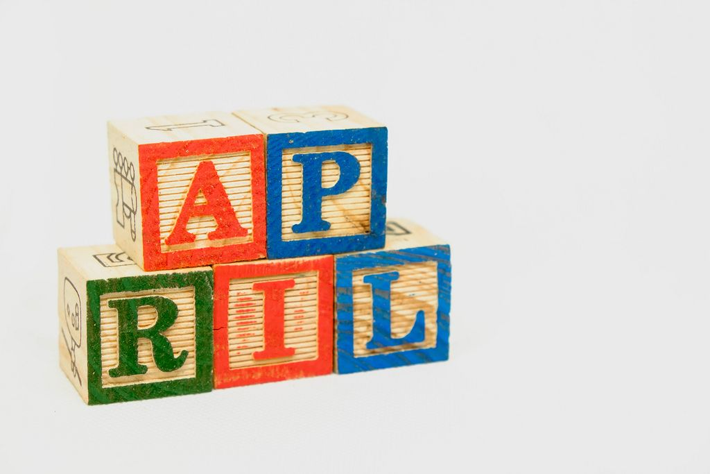 Wooden blocks with April text