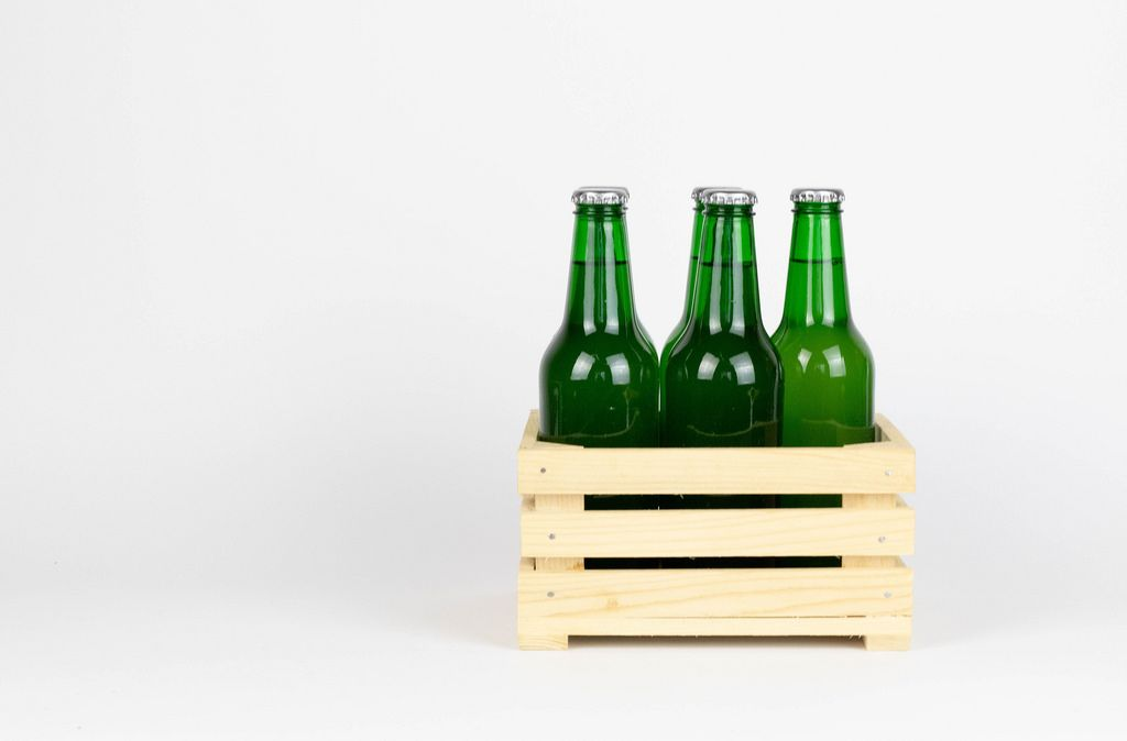 Wooden box with beer bottles