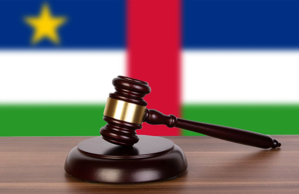 Wooden gavel and flag of Central African Republic