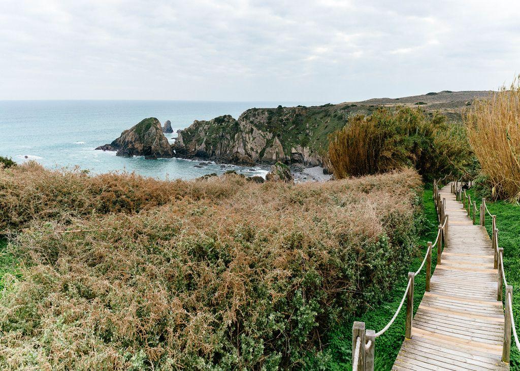 Wooden plank path leading down to a rocky beach (Flip 2019) (Flip 2019) Flip 2019