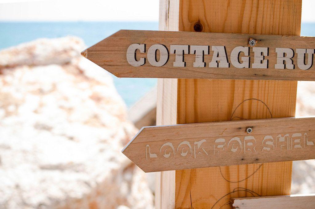 Wooden signs at a beach bar