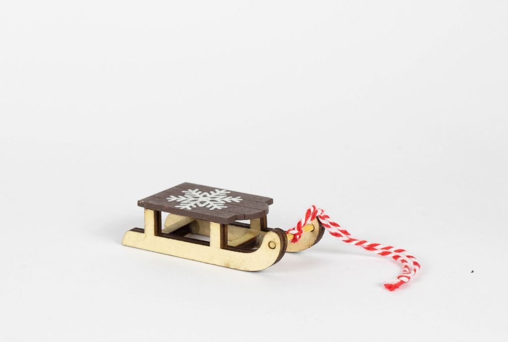 Wooden sled isolated on white