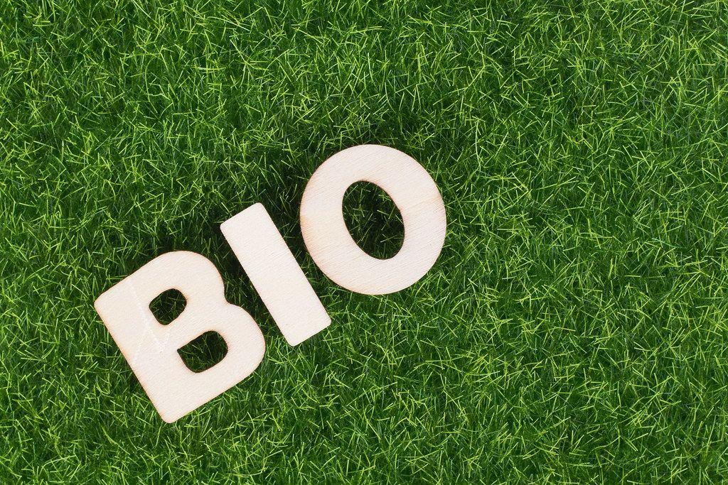 Word BIO on grass background