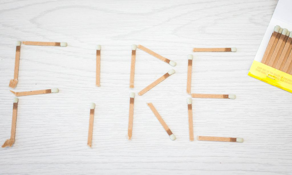 Word Fire writed with Matchstick