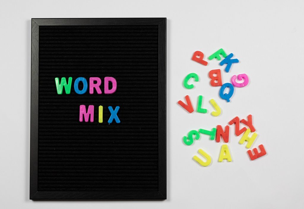 Word mix written with colorful letters