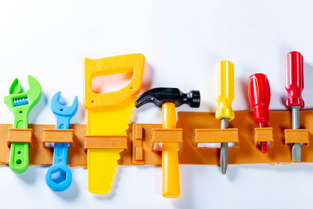 Working tools on a special belt for children's games