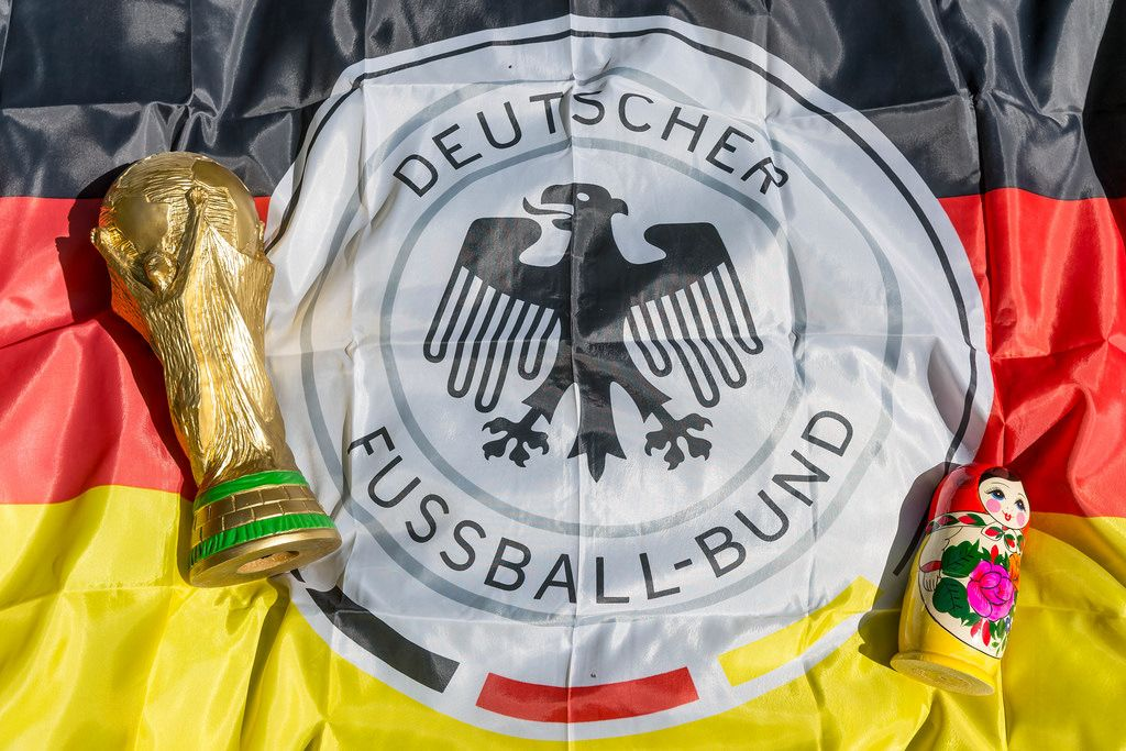 World Cup Trophy, German flag and babushka doll