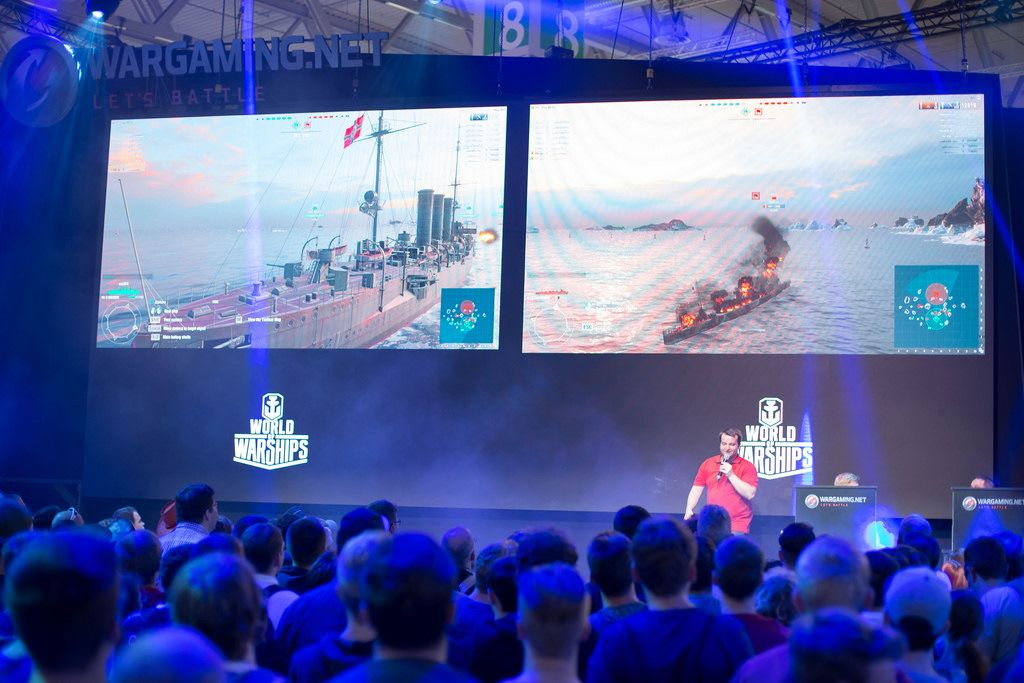 World Of Warships am Messestand von Wargaming