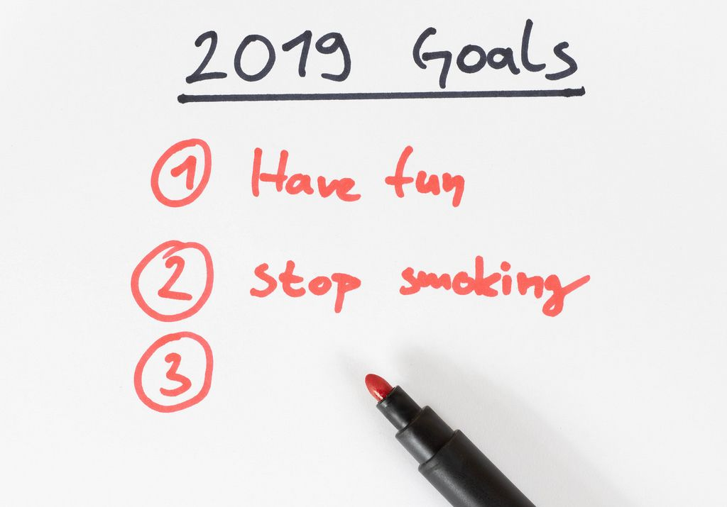Writing 2019 goals on a paper
