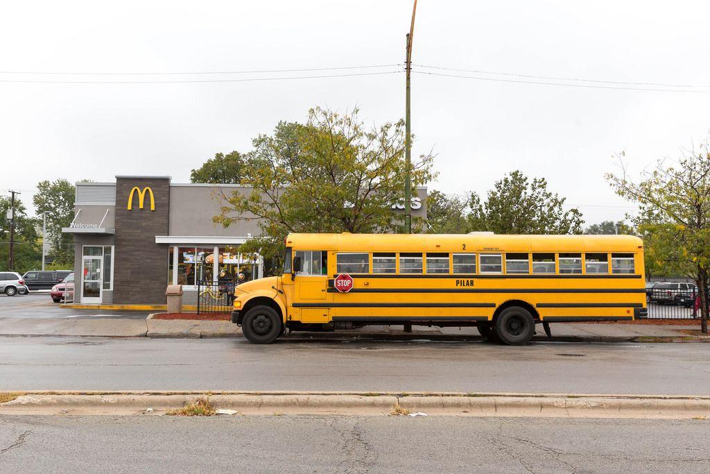 Yellow Bus parked at McDonald's
