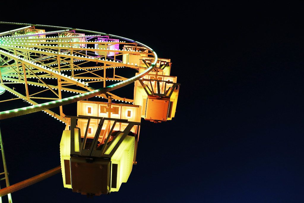 Yellow Ferris wheel, close-up view (Flip 2019)