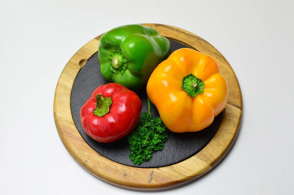 Yellow pepper, red pepper and green pepper