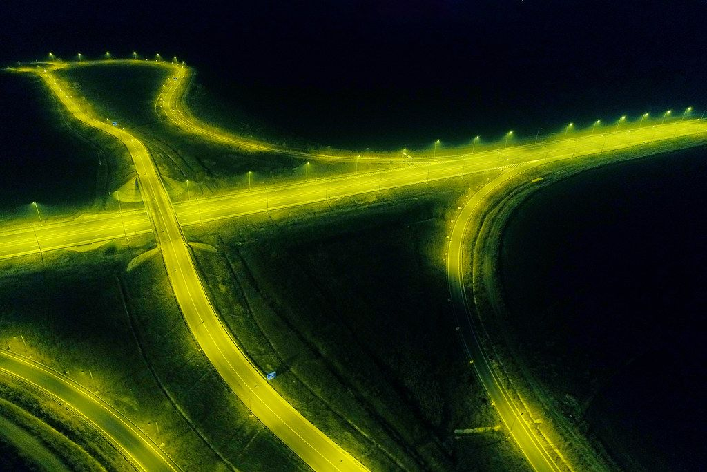 Yellow road ights seen from drone