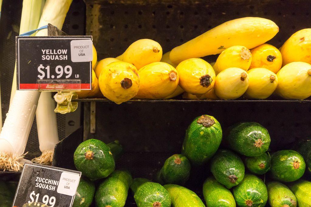 Yellow squash and zucchini squash at the supermarket