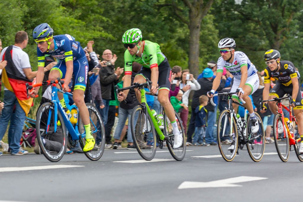 Yoann Offredo (Wanty), Taylor Phinney (Cannondale-Drapac), Laurent Pichon (Fortuneo) und Thomas Boudet (Direct Energie)