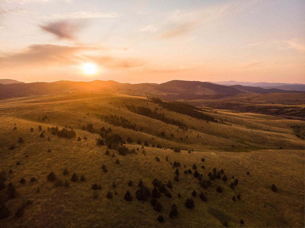 Zlatibor mountain in Serbia at sunset