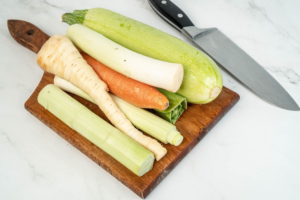 Zucchini Carrot and Parsnip on the wooden cutting board (Flip 2019)