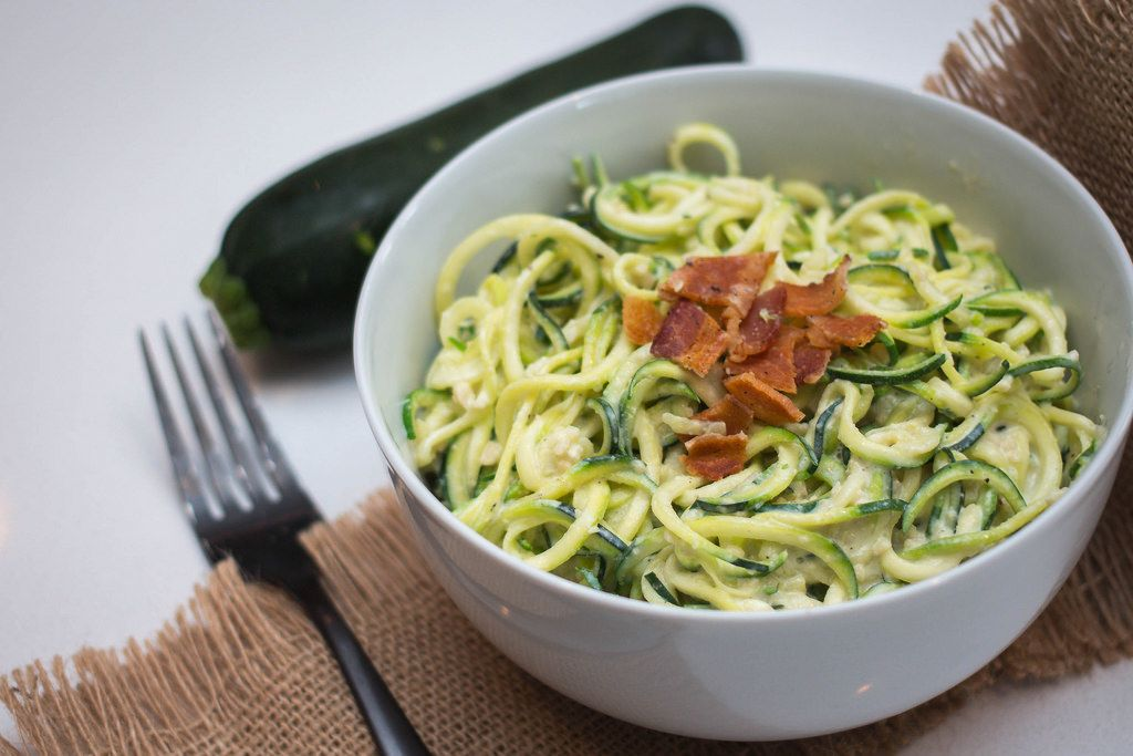 Zucchini pasta in a white bowl