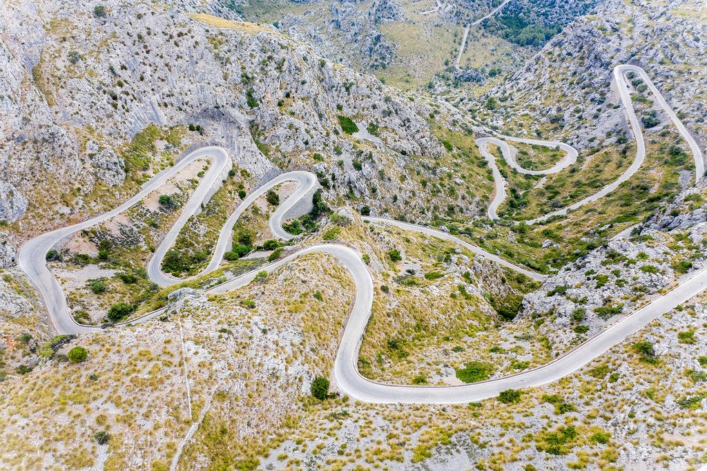 """The snake"" or Sa Calobra Road - MA-2141: one of the most scenic drives in the world. Drone photo"