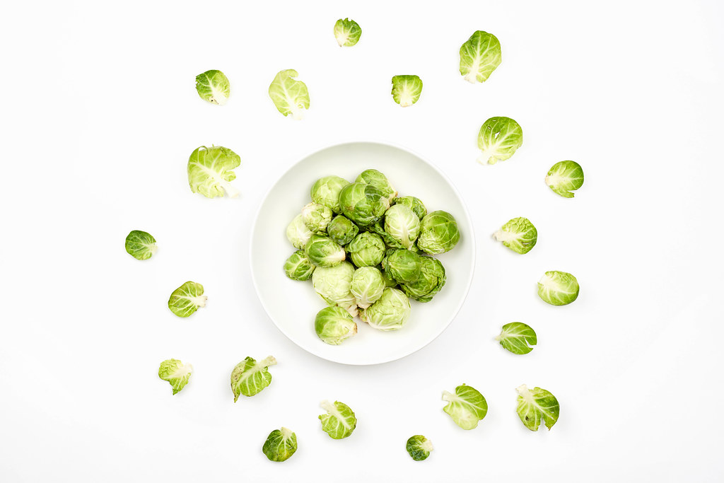 A bowl of brussels sprouts from above