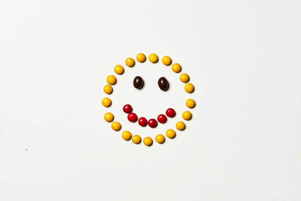 A cute smile made with sweet m&m