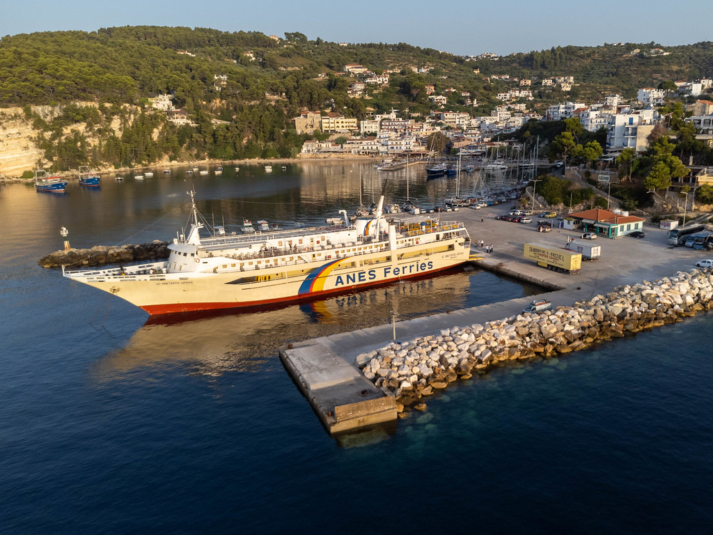 A ferry from Anes Ferries at Patitiri ferry port. Drone capture in the golden morning light