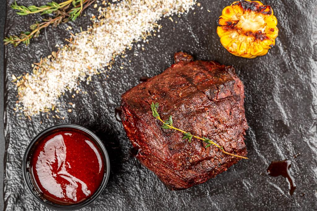 A gourmet filet mignon steak, top view