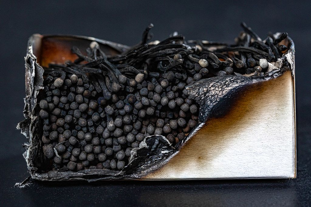 A large burnt-out package of burnt matches