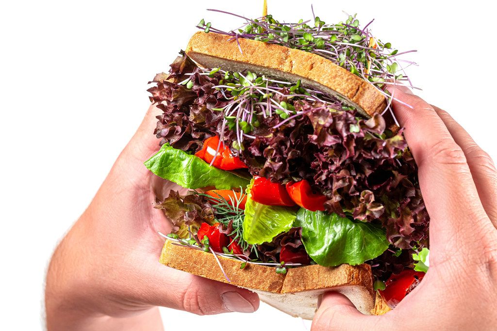 A large vegetarian sandwich with micro greens in men