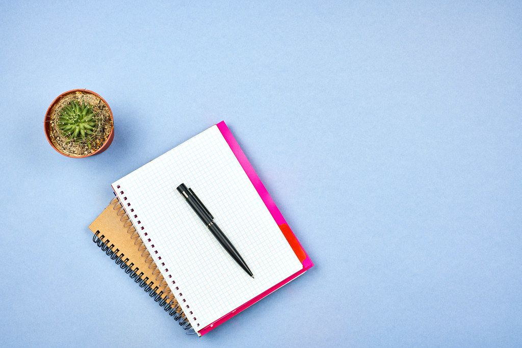 A notepad with pen and cactus plant