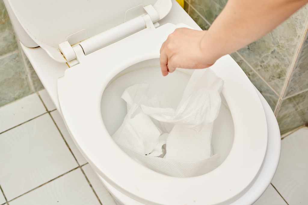 A person throwing toilet papers in the toilet bowl