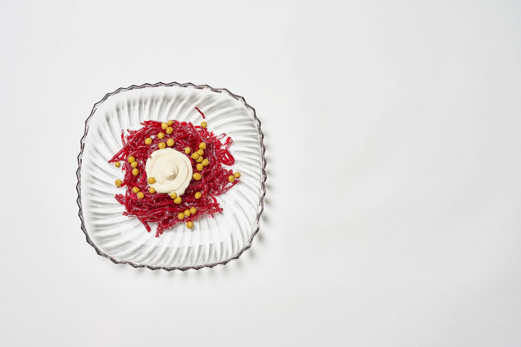 A plate of Beet Kimchi
