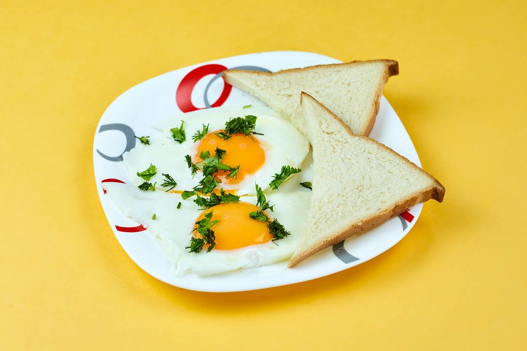 A plate of fried eggs and toasts for breakfast