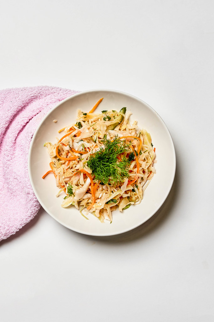 A plate of sweet and tangy cabbage salad