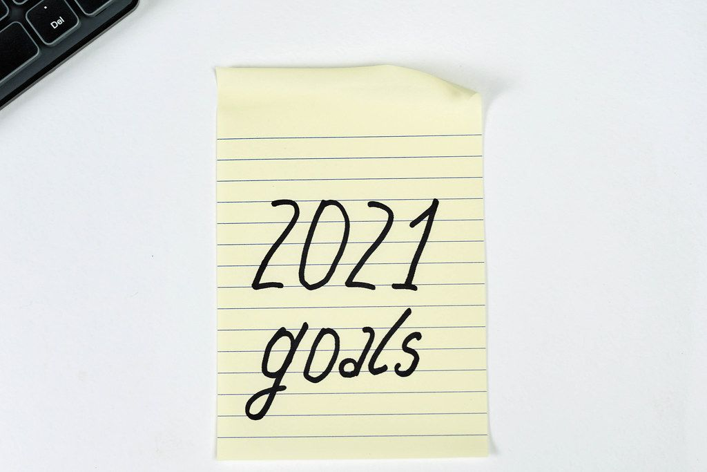 A sticker on white background with words - 2021 goals. New year resolutions
