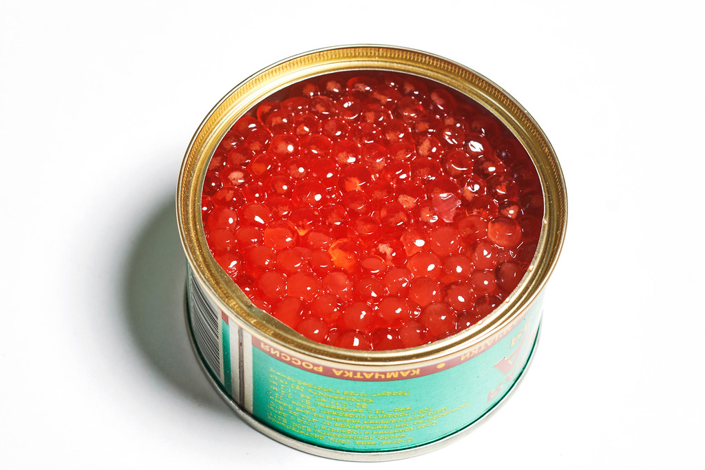 A tin can of red caviar