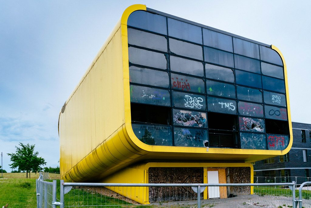 Abandoned Expo 2000 yellow pavilion of Latvia in Hannover Gelände
