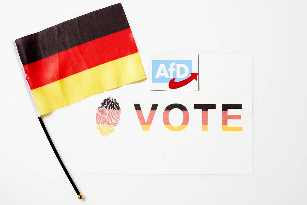 """Abstimmung für die AfD bei der Bundestagswahl 2021: Zettel mit Schrift """"Vote"""" und deutsche Flagge"""
