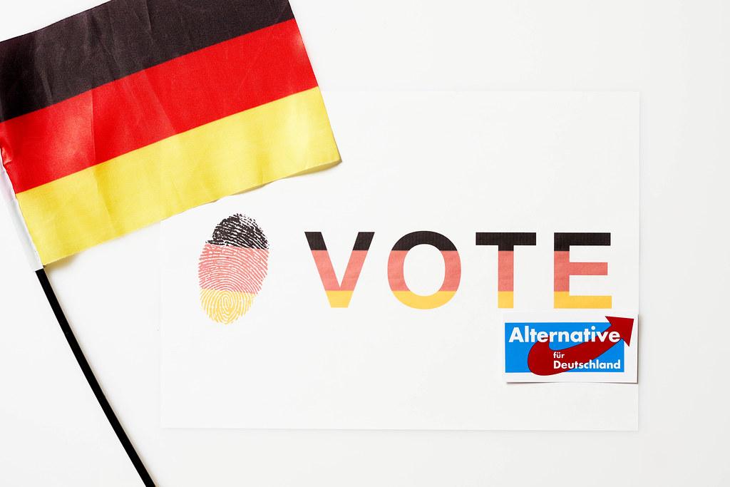 """Abstimmung für """"Alternative für Deutschland"""" bei der Bundestagswahl 2021 neben der deutschen Flagge"""