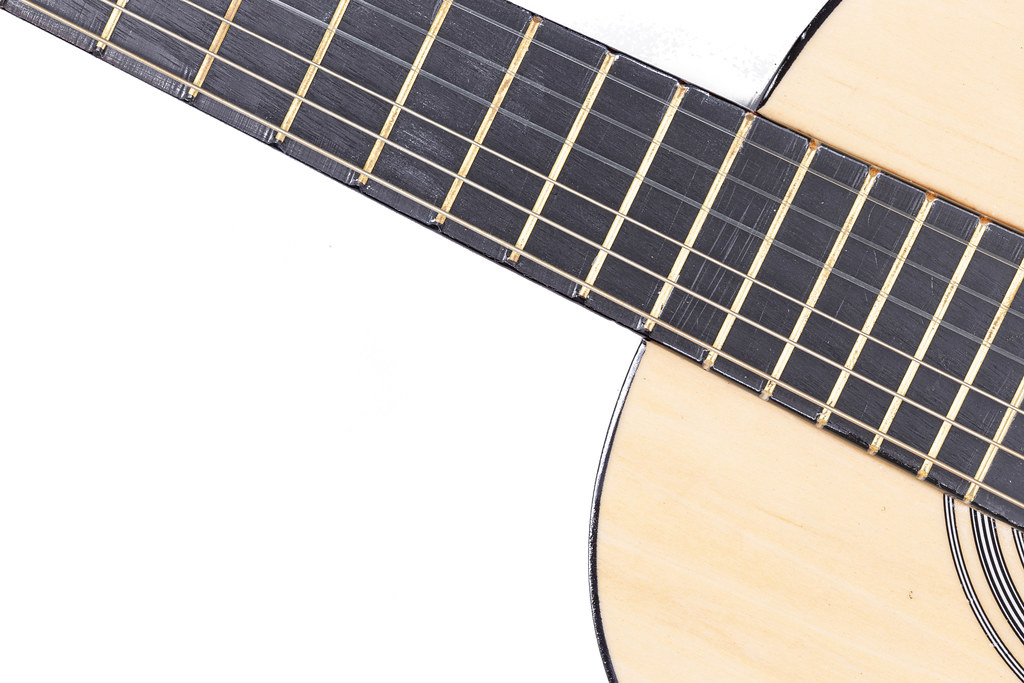 Acoustic Guitar body and neck above white background
