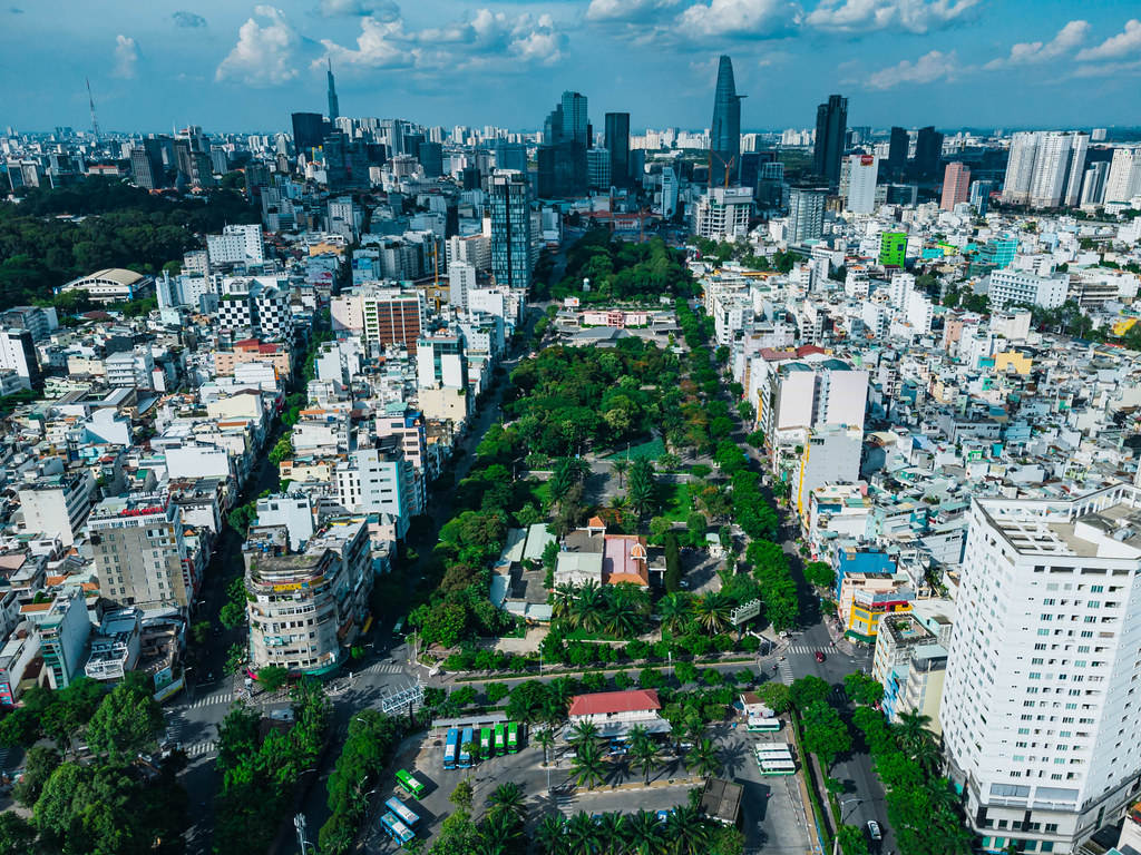 Aerial Drone Photo of 23/9 Park in the City Center with Bitexco Financial Tower and Lanmark 81 in the Background in Ho Chi Minh City, Vietnam