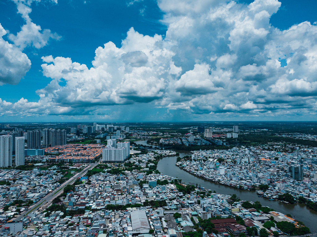 Aerial Drone Photo of  Him Lam Neigborhood in District 7 and District 8 on the other Side of Saigon River in Ho Chi Minh City, Vietnam