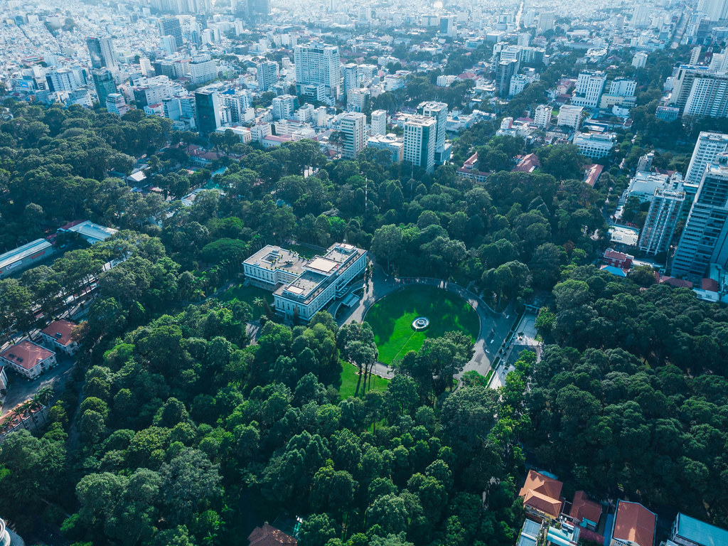 Aerial Drone Photo of the famous tourist attraction the Independence Palace with a large Park around it in Ho Chi Minh City, Vietnam