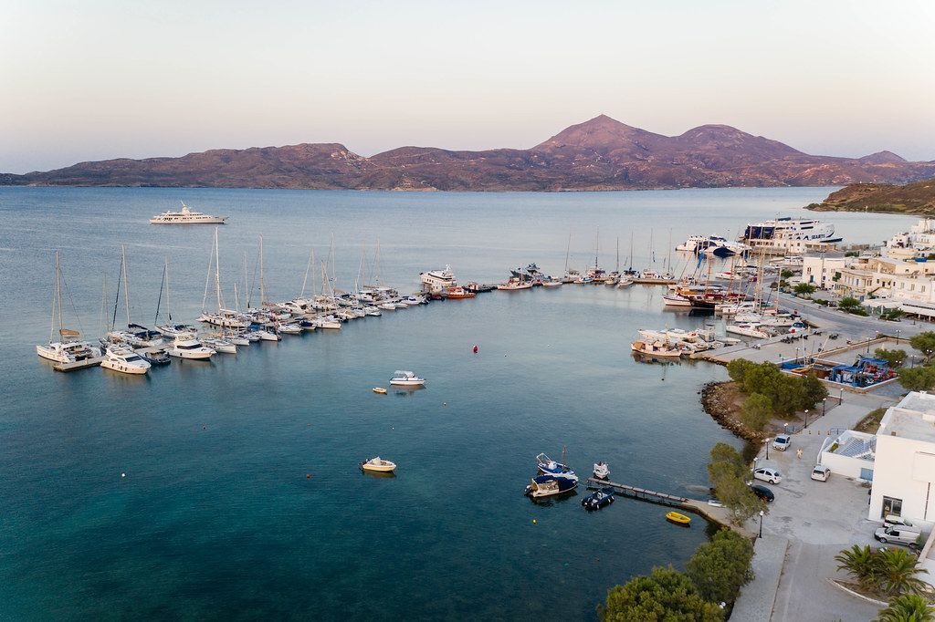 Aerial photo of boats in Adamantas, the harbour town of the island of Milos in the South Aegean