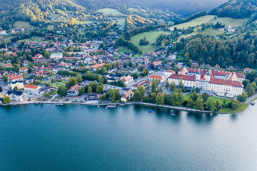 Aerial photo of the Tegernsee Abbey former benedict monastery