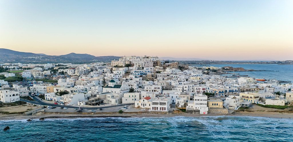 Aerial shot of Naxos Town (Chora), main port and capital of the island Naxos in the Cyclades, Greece