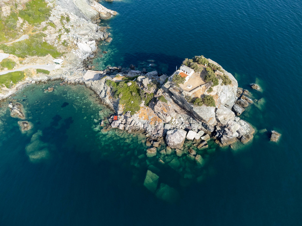 Aerial view of Agios Ioannis Church on Skopelos, famous for the wedding scene in Mamma Mia!