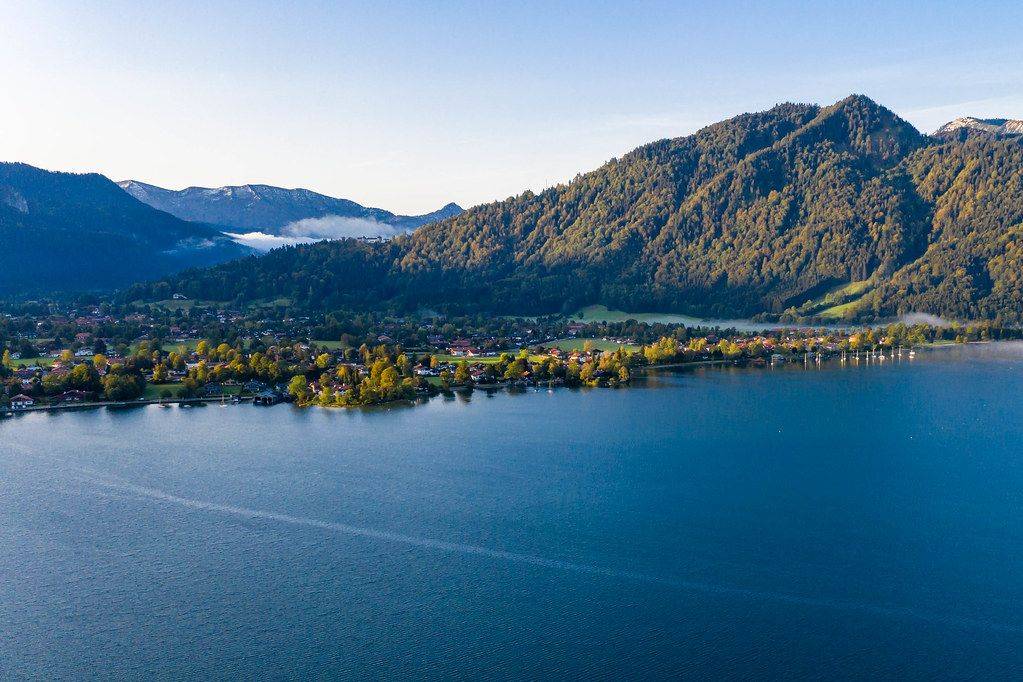 Aerial view of Lake Tegernsee with mountains in the background in Bavaria, Germany