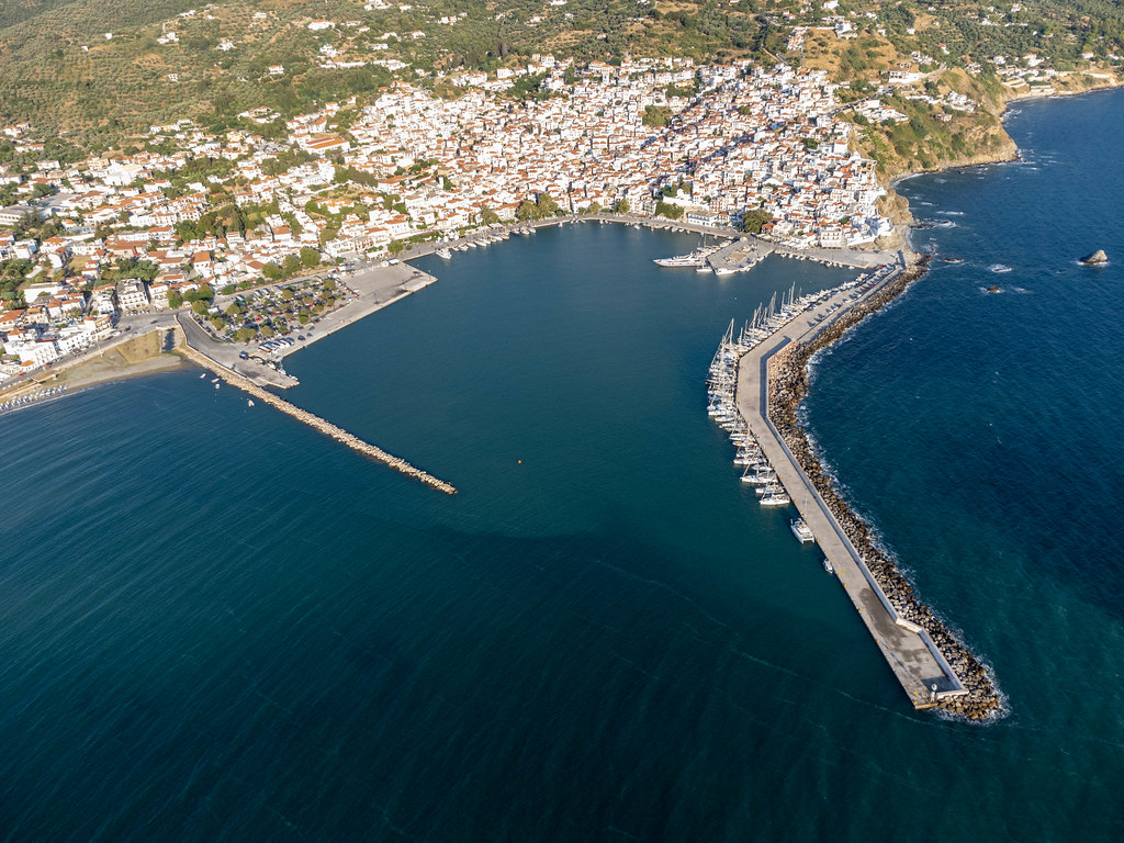 Aerial view of Skopelos harbour in Skopelos town in the north of the Greek island
